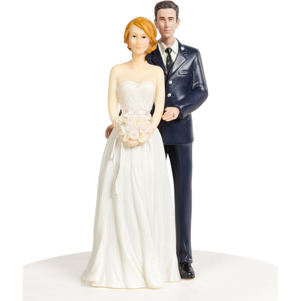 Air Force Wedding Cake Topper - Caucasian Bride and Groom
