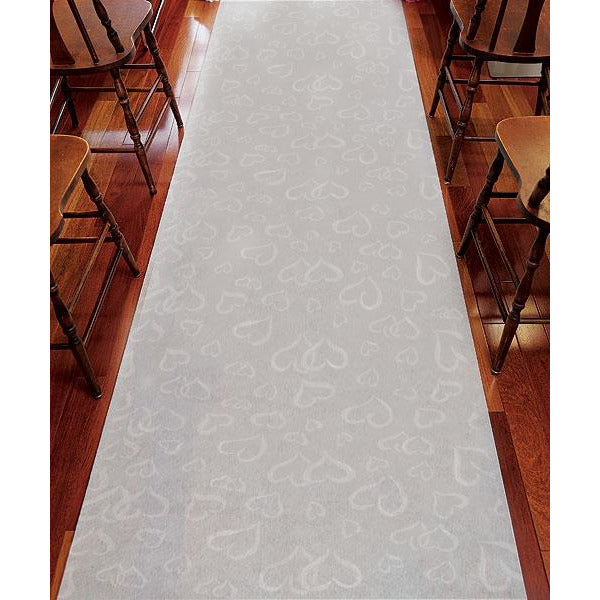 All Over Heart Fabric Wedding Aisle Runner in Plain White