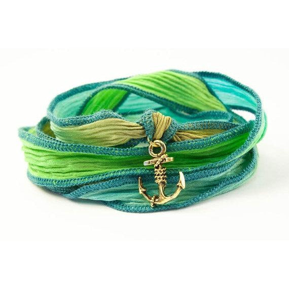 Anchor Bracelet, Silk Wrap Bracelet