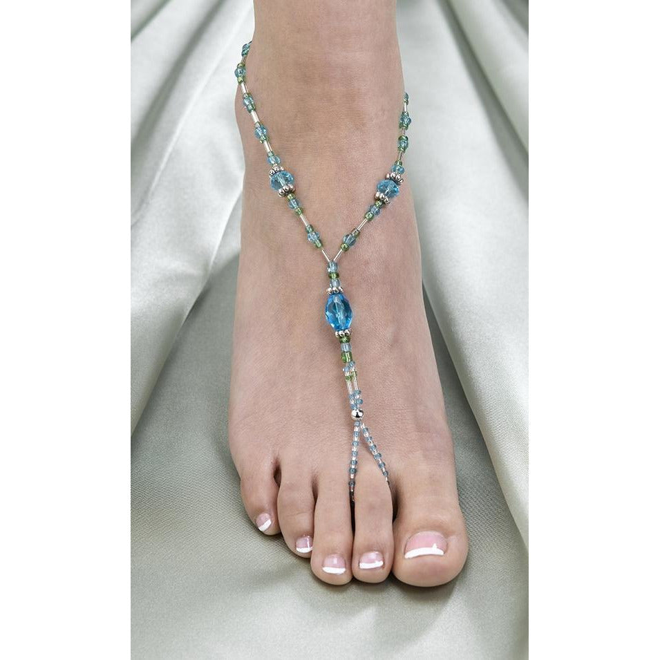 Aqua Bead Foot Jewelry