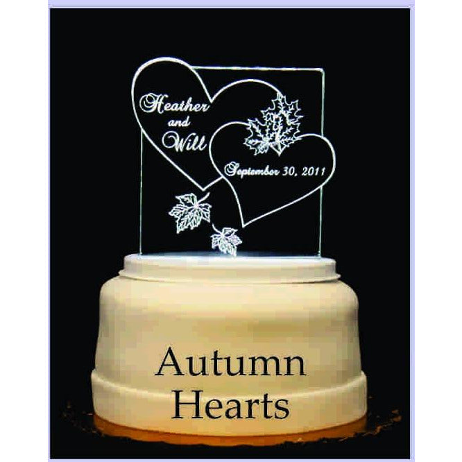 Autumn Hearts Light-Up Wedding Cake Topper