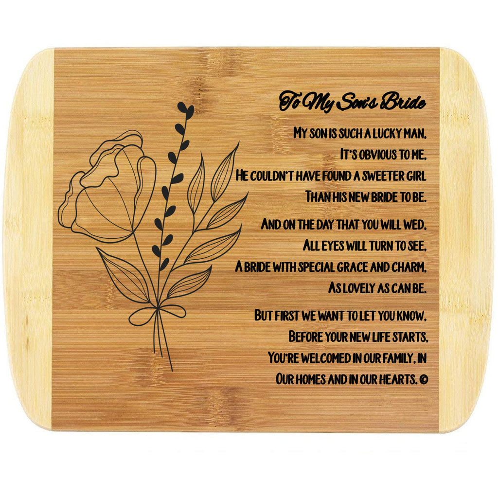 "Engraved Cutting Board, 11"" x 8.75"", Mother-in-Law to Bride-to-Be Gifts, Natural Sustainable Bamboo Kitchen Decor, Wedding or Bridal Shower Gift for Her, BPA Free"
