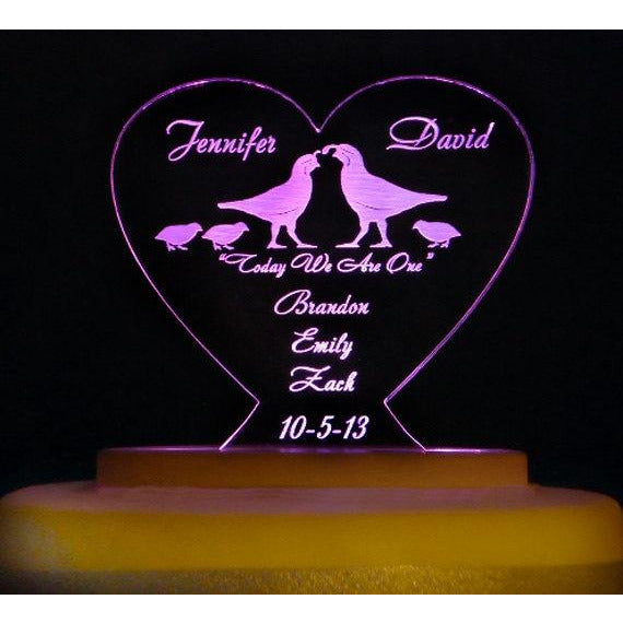 BLENDED FAMILY Light-Up Wedding Cake Topper