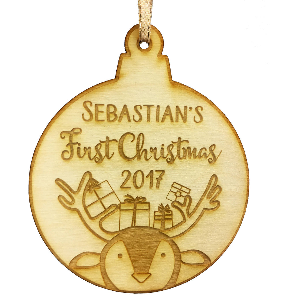 Baby's First Christmas Personalized Christmas Ornament - Baby Reindeer Design- Year and Baby's Name Engraved Baby First Christmas Gift Baby Shower Holiday Wood Custom Personalized