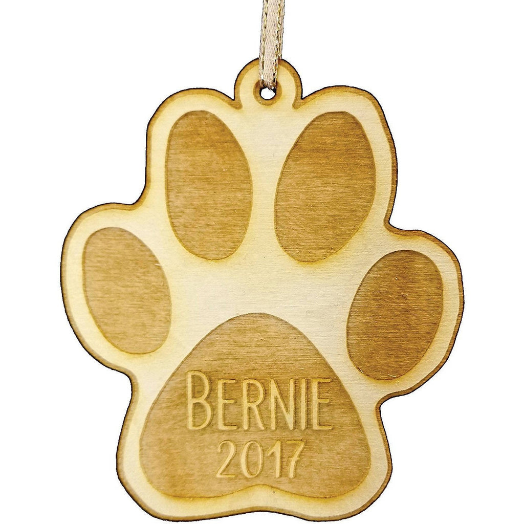 Personalized Pet Wood Christmas Ornament - Year and Pet's Name Engraved Gift Pet Holiday Wood Custom Pet Christmas - Pet Ornament - Dog Ornament