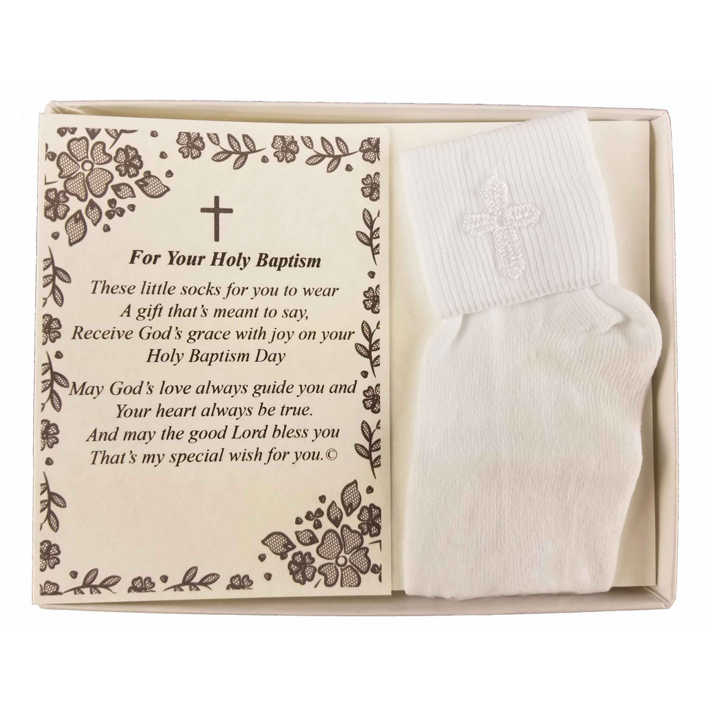 Baptism Keepsake Gift Poetry Baby Boy Socks with Embroidered Cross Design (Size: Age 1-2)