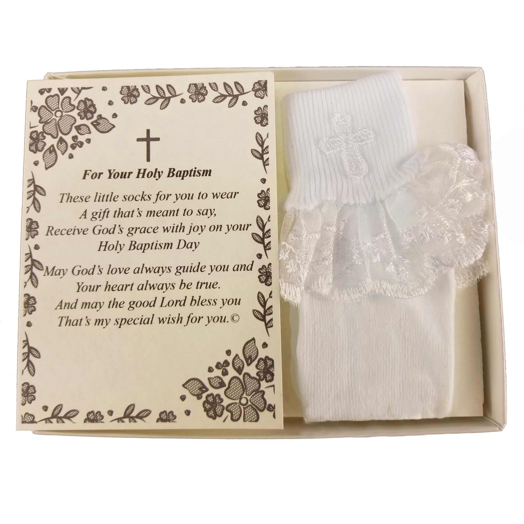 Baptism Keepsake Gift Poetry Baby Girl Socks with Ruffled Anklet Lace Embroidered Cross Design (Size: Age 1-2)