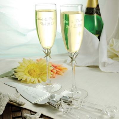 Beach Champagne Flutes and Cake Server Set