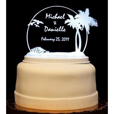 Beach Light-Up Wedding Cake Topper