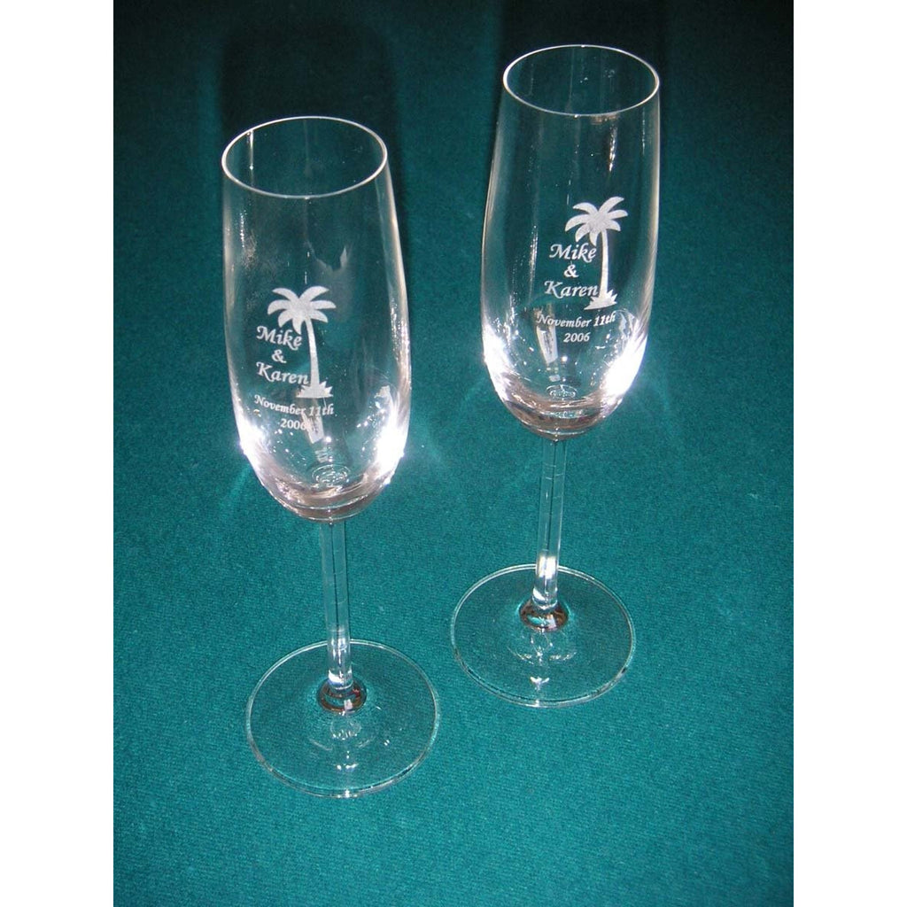 Beach Toasting Wedding Champagne Glass Flutes (Pair)