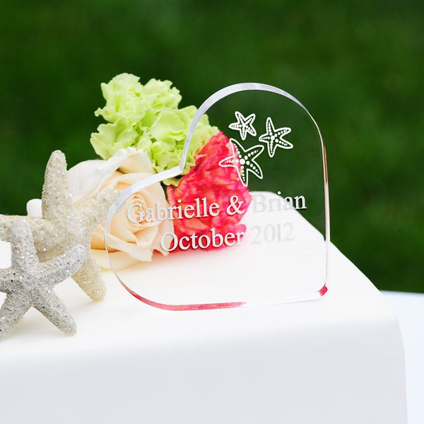 Beach Wedding Acrylic Heart Starfish Cake Topper