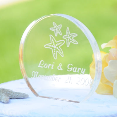 Beach Wedding Acrylic Round Starfish Cake Topper