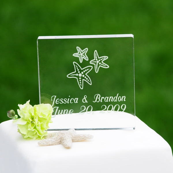 Beach Wedding Acrylic Square Starfish Cake Topper