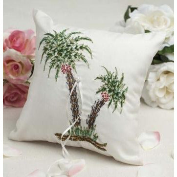Beautiful Palm Tree Beach Ring Pillow