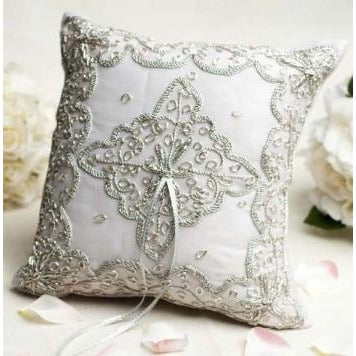 Beautiful Silver Woven Ring Pillow