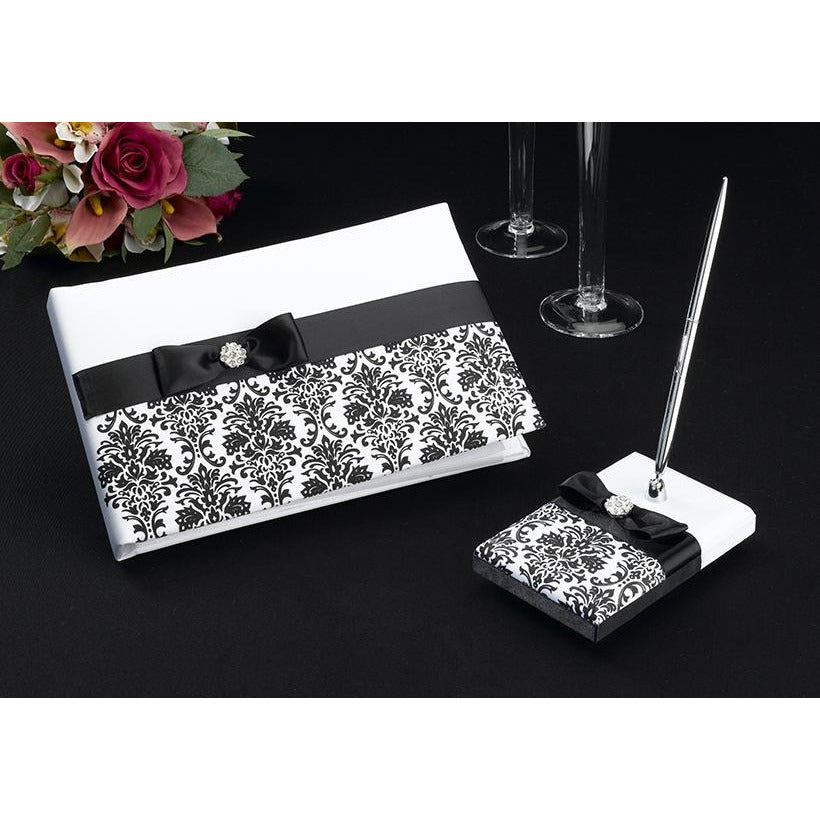 Black Damask Wedding Guestbook and Pen Set