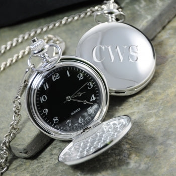 Black Face Silver-Plated Pocket Watch