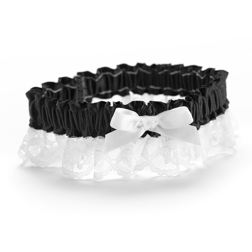 Black Ribbon & Lace Garter