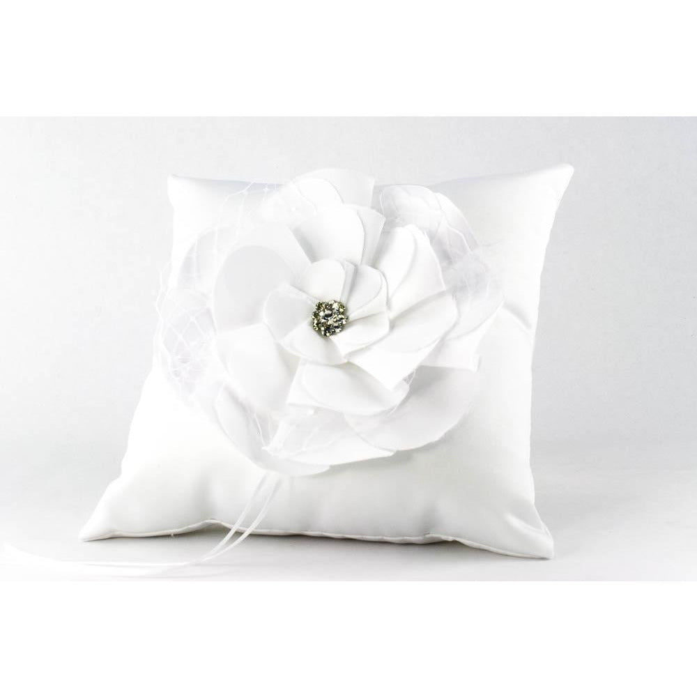 Netted Rose Wedding Ring Bearer Pillow