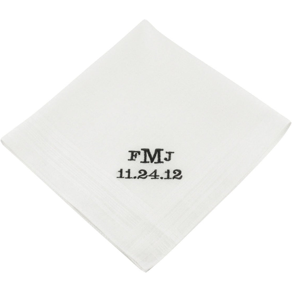Block Monogram Groom's Wedding Handkerchief