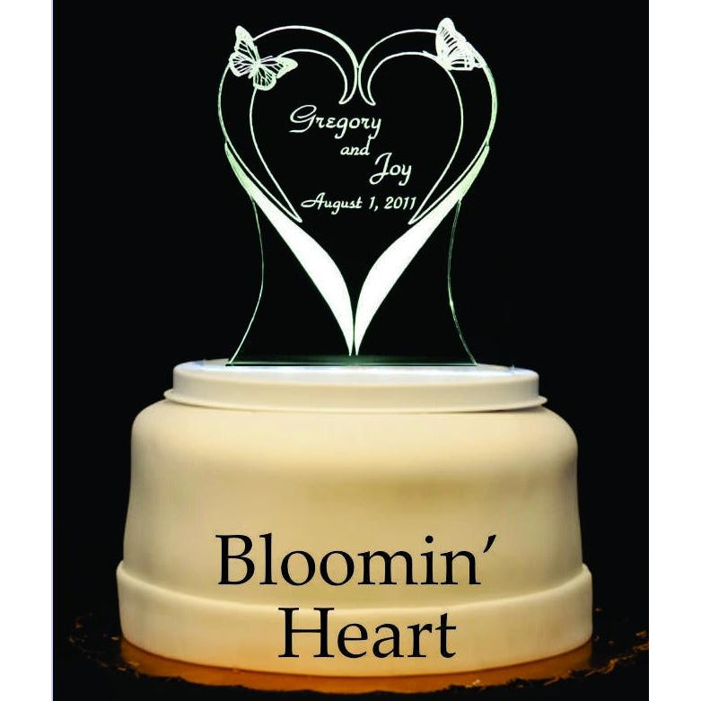 Blooming Heart Light-Up Wedding Cake Topper