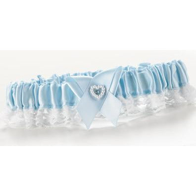 Blue Double Heart Garter Narrow Lace