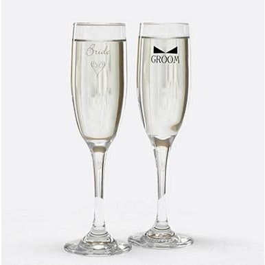 Bride & Groom Flutes with Bow Tie