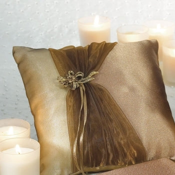Bronze Elegance Square Ring Pillow