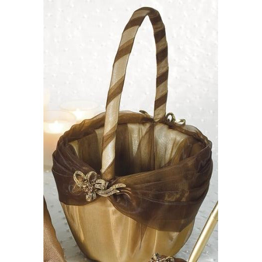 Bronze Elegance Wedding Ceremony Flower Girl Basket