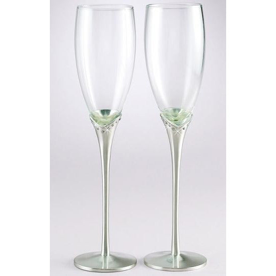 Brushed Silver Plated Tulip Stem amd Crystal Toasting Flutes