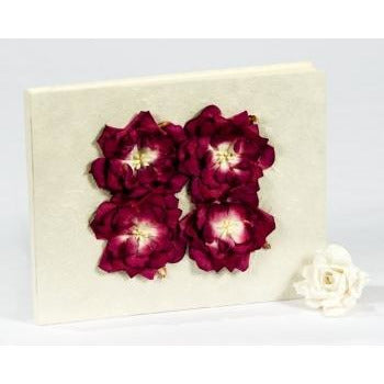 Burgundy Rose Natural Paper Wedding Guestbook