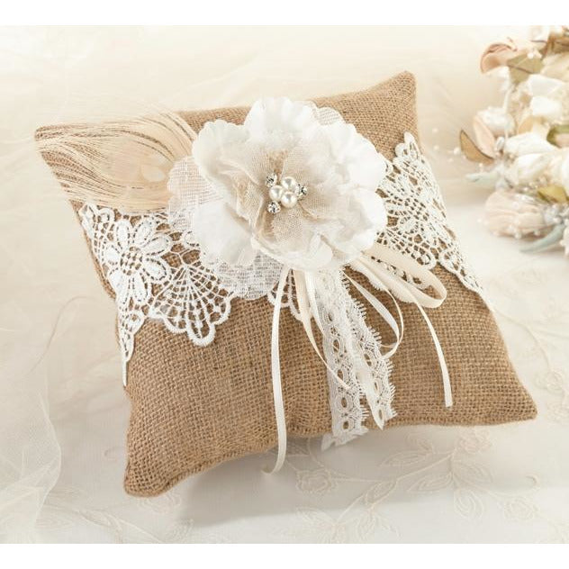Burlap & Lace Ring Pillow