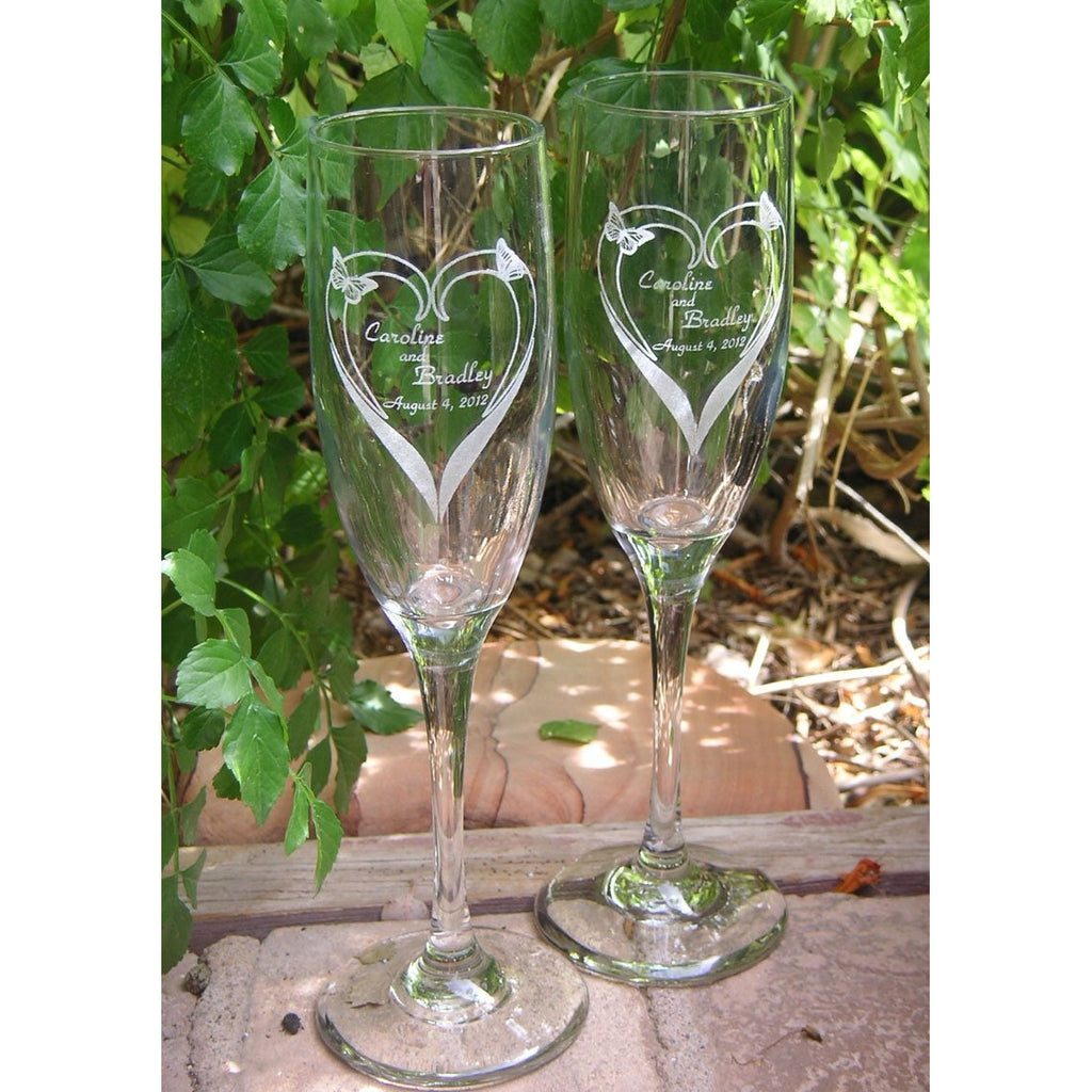 Butterfly - Bloomin Heart Toasting Wedding Champagne Glass Flutes (Pair)