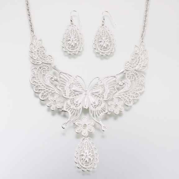 Butterfly Jewelry Set - Silver