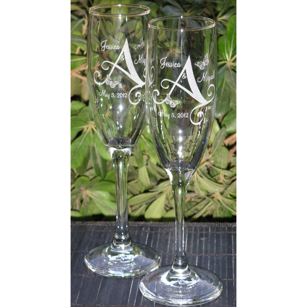 Butterfly Monogram Toasting Wedding Champagne Glass Flutes (Pair)