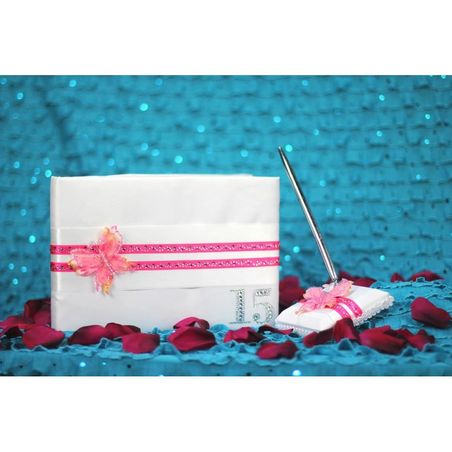 Butterfly Princess Quinceanera Guestbook & Pen Set - CUSTOM COLORS!
