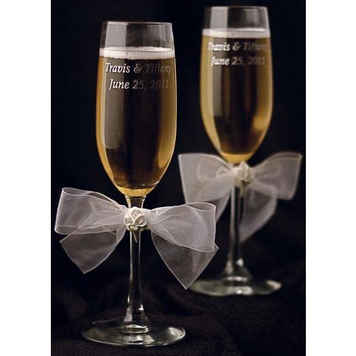 Calla Lily Bouquet Wedding Toasting Glasses