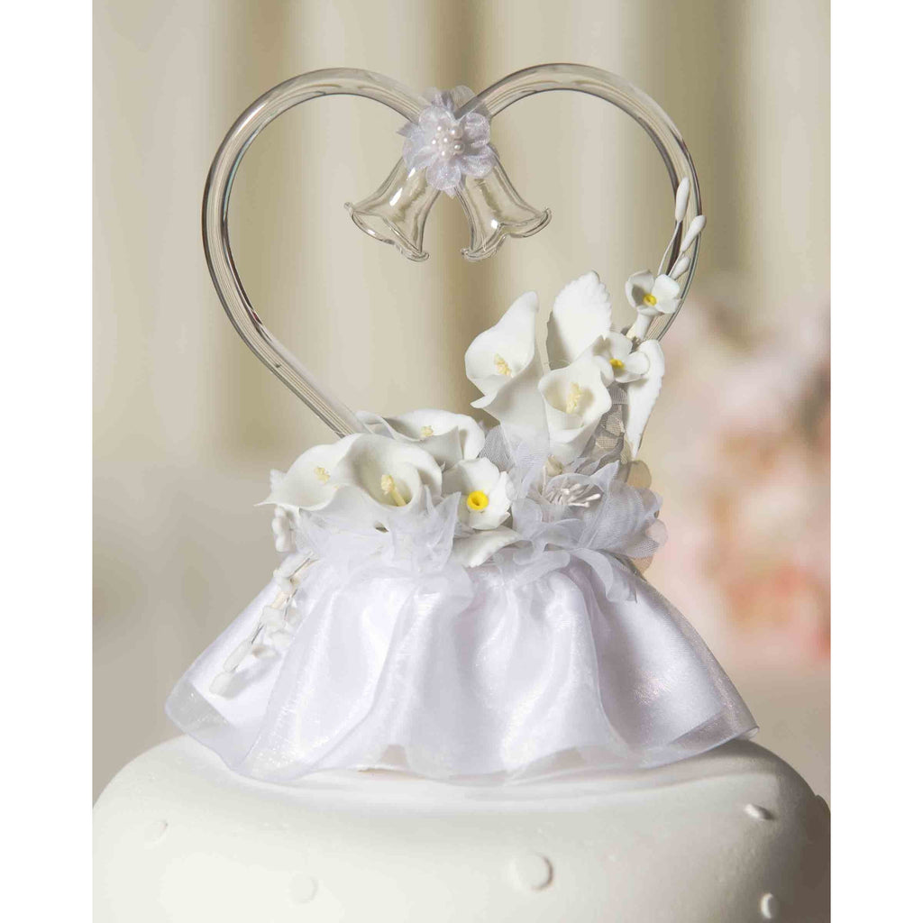 Calla Lily Spray Heart Wedding Cake Topper