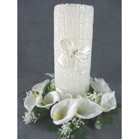 Calla Lily Wreath Candleholder with Wedding Unity Candle