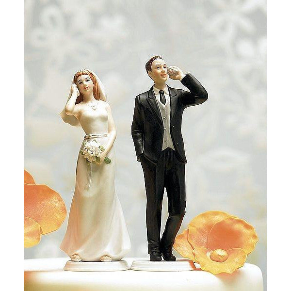 Cell Phone Fanatic Bride and Groom Mix & Match Funny Wedding Cake Toppers