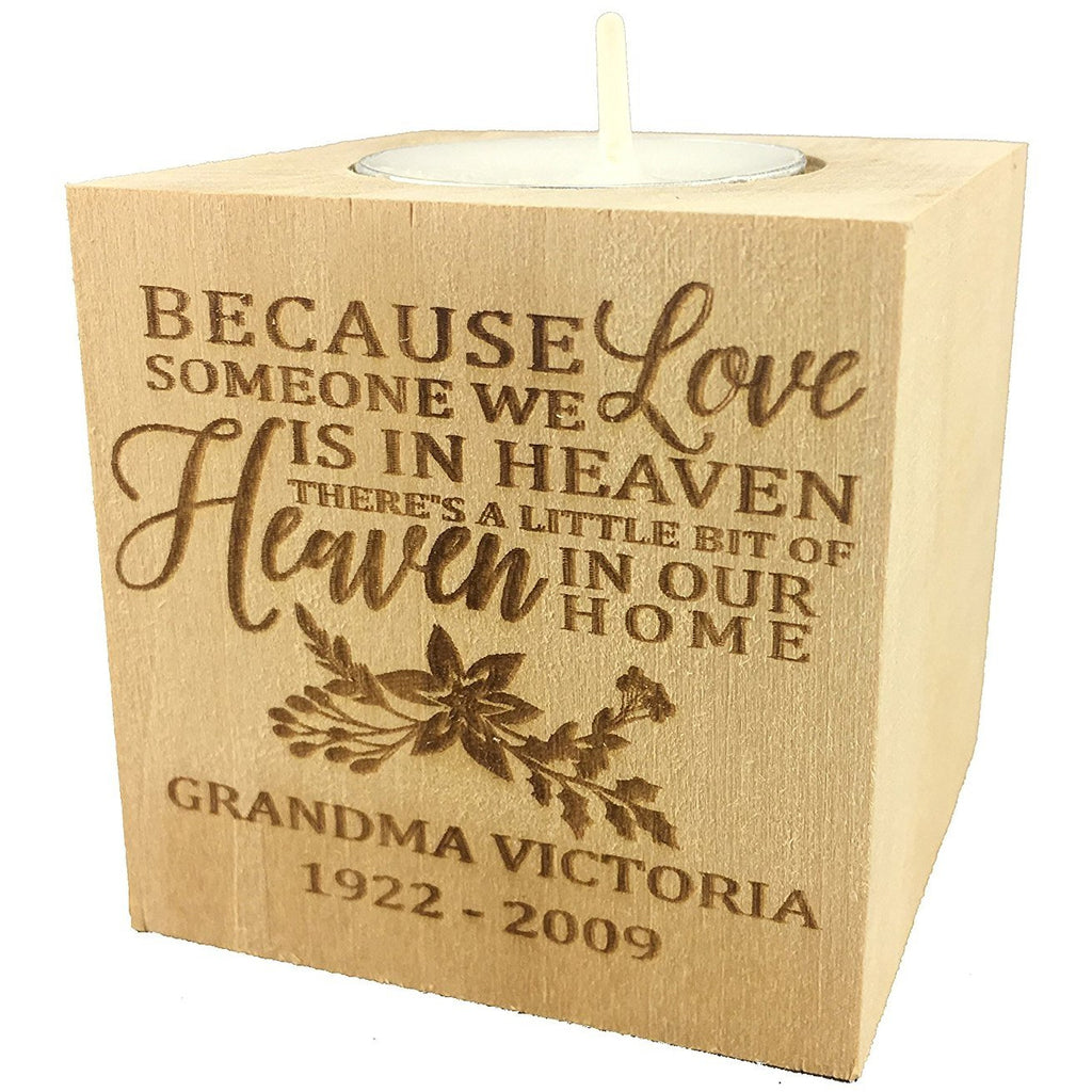 "Personalized Memorial Sympathy Bereavement Candle Holder Custom Engraved Wood Keepsake Ideas for Loved One Tea Light Block (2.5"")"