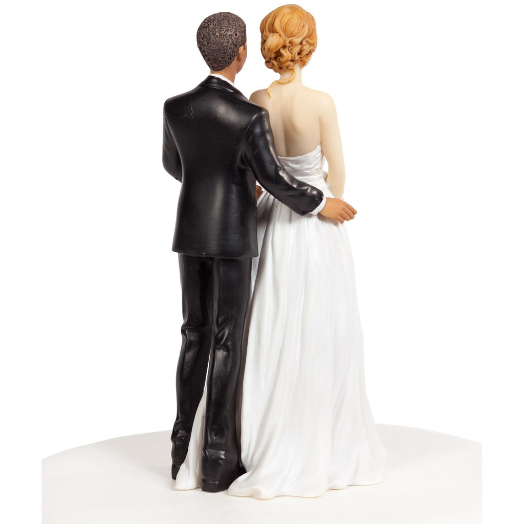 Chic Interracial Wedding Cake Topper - Caucasian Bride / African American Groom