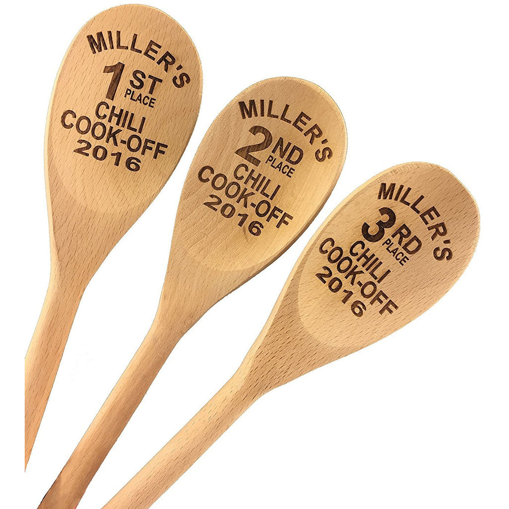 Chili Cook Off Custom Engraved Wood Spoon Prizes (Set of 3)