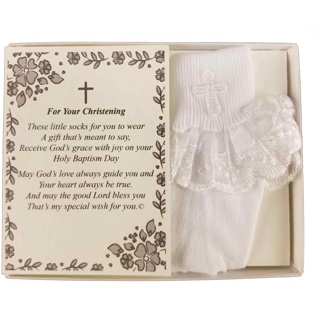 Christening Dedication Keepsake Gift Poetry Baby Girl Socks with Ruffled Anklet Lace Embroidered Cross Design (Size: Age 1-2)