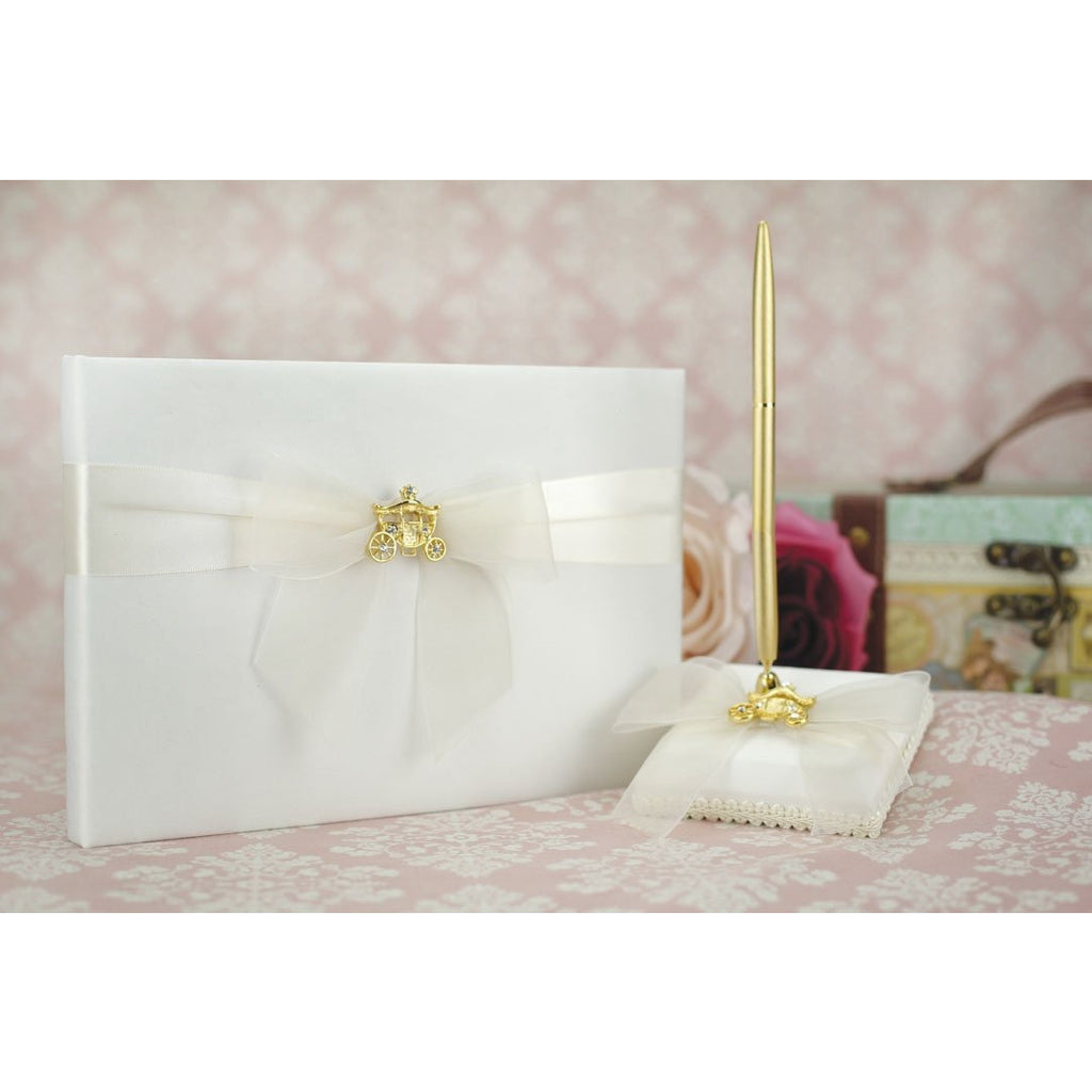 Cinderella Fairy Tale Coach Wedding Guestbook and Pen Set (Silver/Gold)