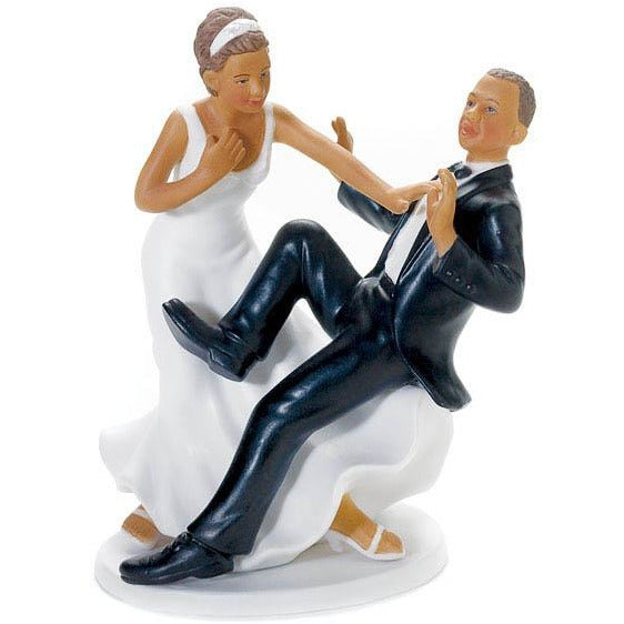"Comical Couple with the Groom ""Taking a Plunge"" (African American)"