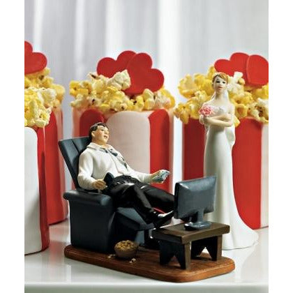 Couch Potato Gamer Groom Figurine and Exasperated Bride Mix and Match Cake Toppers
