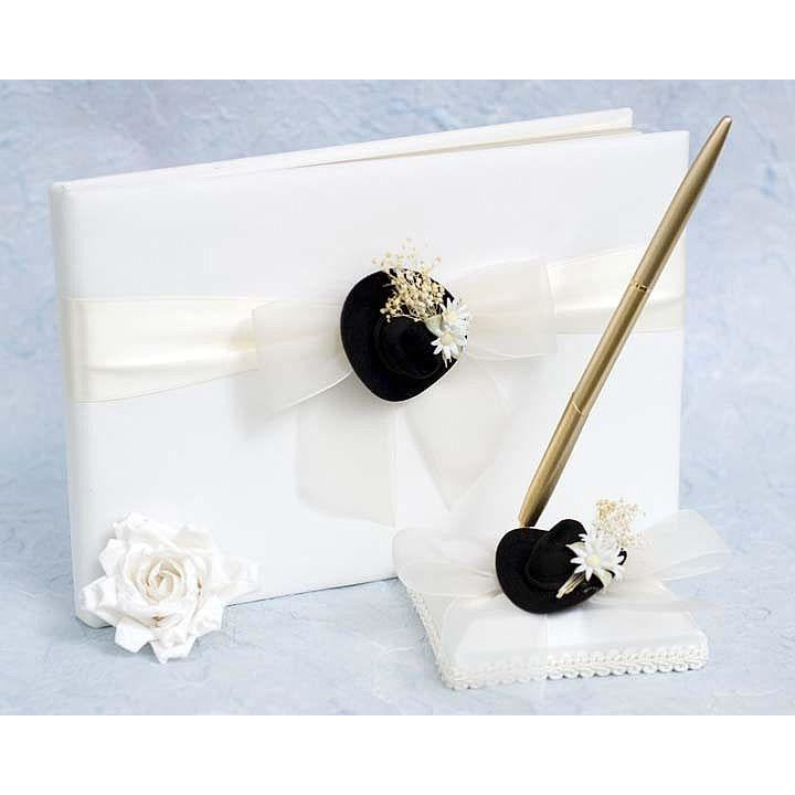 Cowboy Hat Western Wedding Guestbook and Pen Set