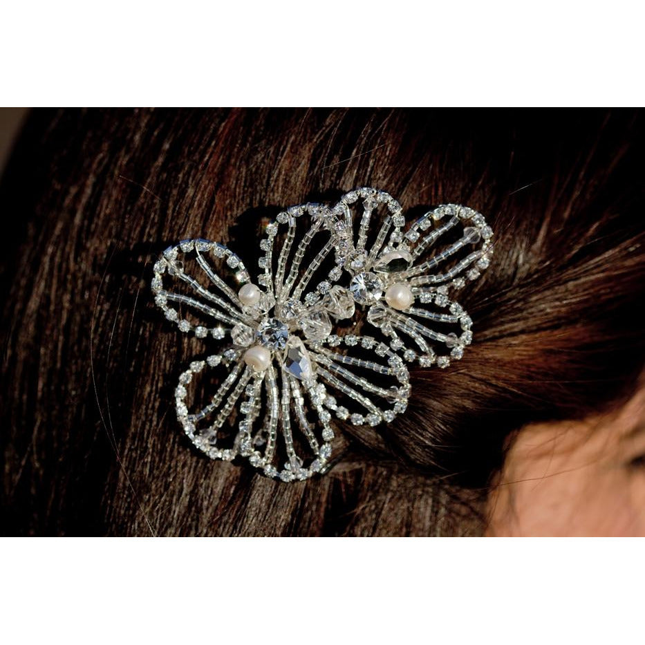 Crystal Beaded Deco Flower Comb