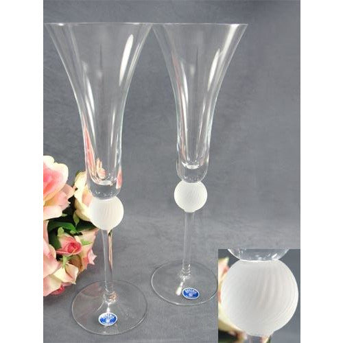 Crystal Elegance Frosted Sphere Wedding Toasting Glasses